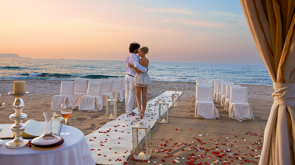 Night Beach Wedding Reception Elegant Caribbean Island: Weddings In Europe At Amirandres Luxury Resort In